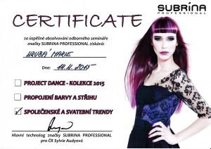 certifikát Marie Hrubá